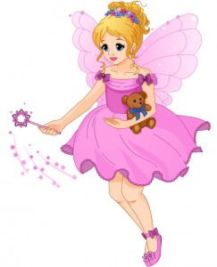Illustration of a cute girl in a purple dress with fairy wings.